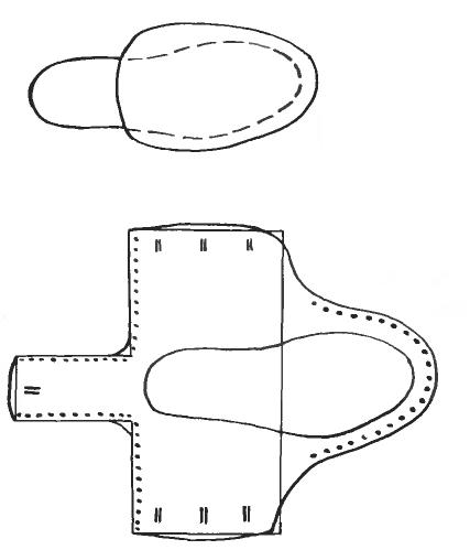 Детали выкройки самодельных мокасин