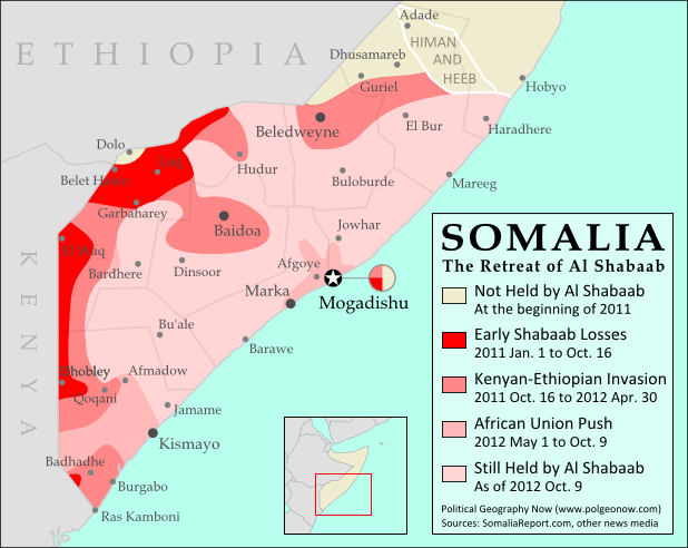 Map of the retreat of Al Shabaab Islamist militants in Somalia since 2011, culminating in the October 2012 capture of the key port city of Kismayo. Shows successive stages of advance by Kenyan, Ethiopian, and local forces.