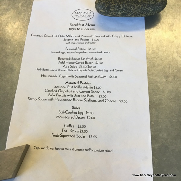 daily menu at Standard Fare bakery in Berkeley California