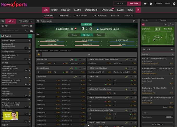 Nowasports Live Betting Screen