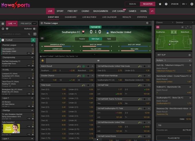 Nowasports Live Betting Screen