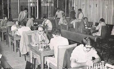 Sala de juego del XXXV Campeonato Individual de España de Ajedrez, Llaranes-Avilés 1970