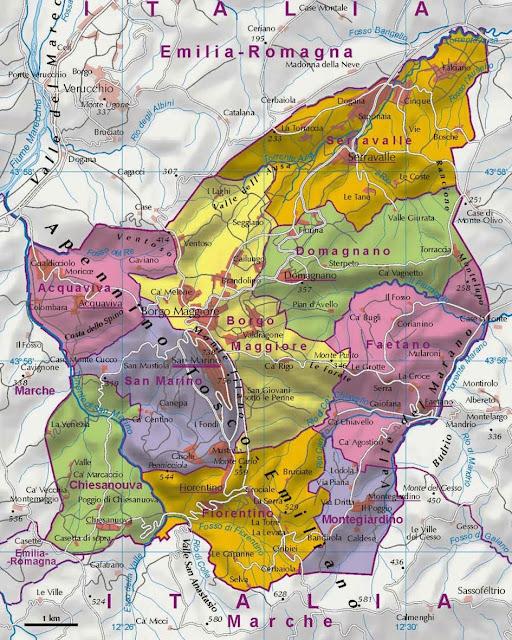 Mapa político de San Marino