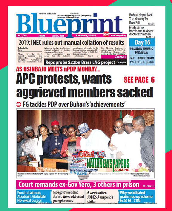 Nigeria newspapers todays the blue print newspaper headlines 01 below are the headlines found on the blueprint online newspaper for today friday 01 june 2018 malvernweather Images