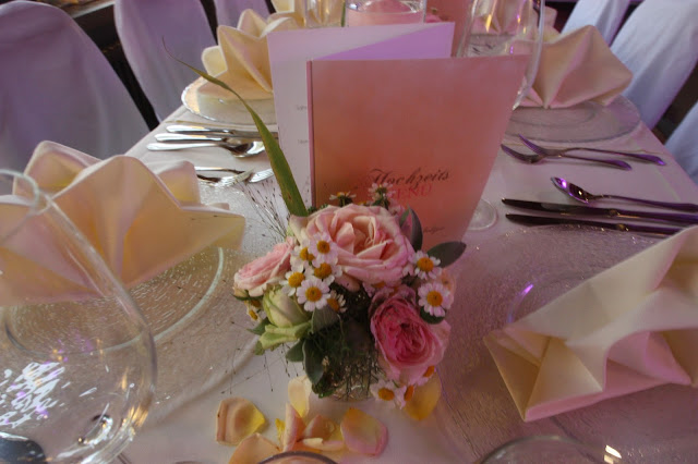 Centerpieces in Peach and pastel pink