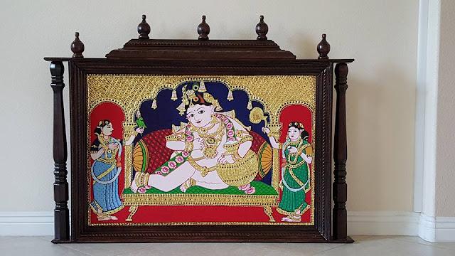 Butter Krishna Big tanjore tanjavur painting
