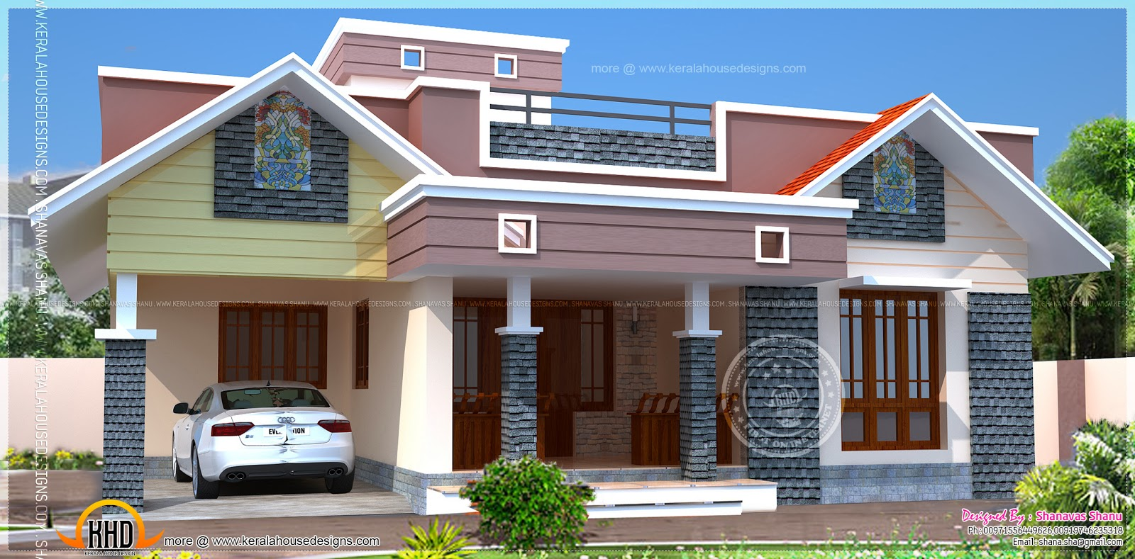 Floor plan of modern single floor home kerala home for Single house front design