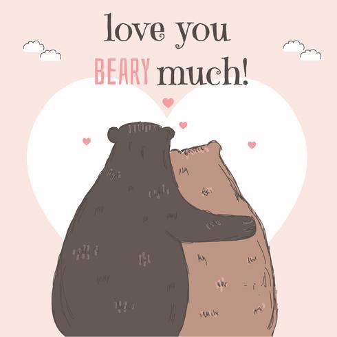 Couple of Bear Valentine Card Free Vector