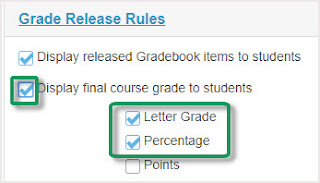 Click check box beside Display Final course grade, also can check beside letter grade and percentage
