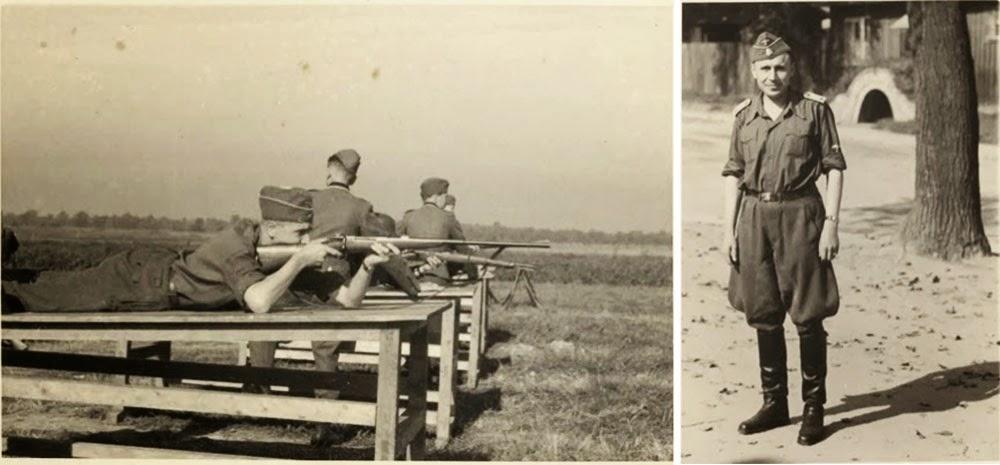 Hoecker, acostado en una plataforma de madera a la altura de una mesa, dispara un rifle. Derecha: Hoecker en su uniforme de verano.