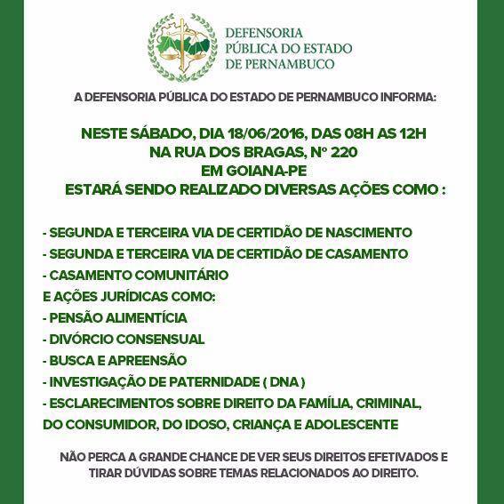 Defensoria Pública de Pernambuco promove ação de cidadania em Goiana