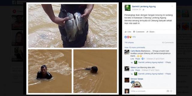 Unggah Foto di Facebook, Tangkap Ikan di Aliran Kali Ciliwung Dengan Tangan Kosong, Ini Kata Dinas Kebersihan