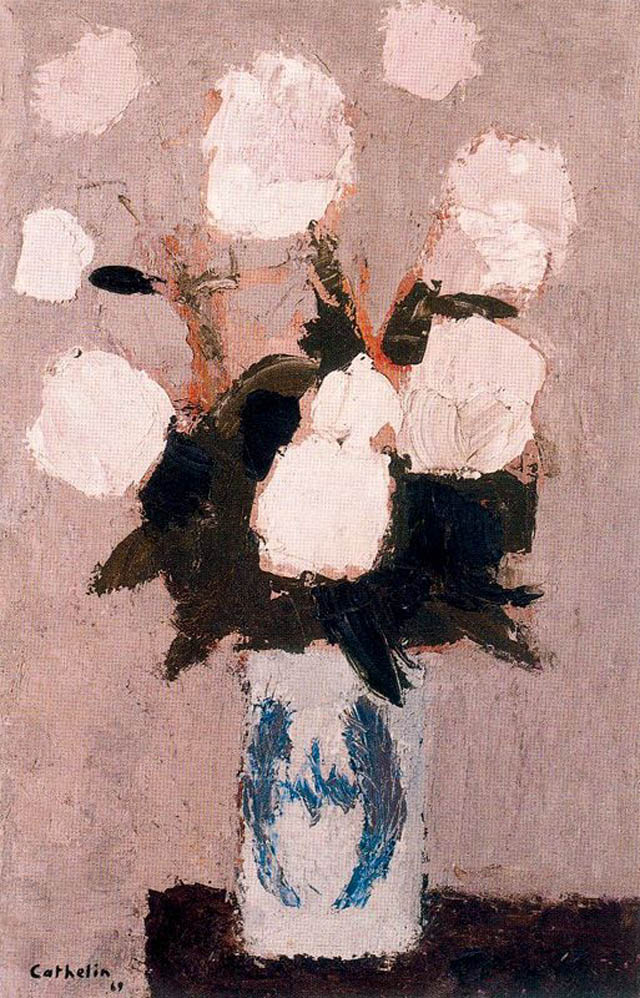 Bernard Cathelin 1919-2004 | French painter | White Roses for Paris