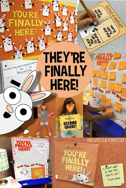 First week back to school activities for a full first week of fun with You're Finally Here! by Melanie Watt. this hilarious gem is the most perfect first day book ever! See how we used this book for getting to know you activities, back to school writing, first week of school centers and games, a goal setting writing craft, and even a first day of school photo booth!