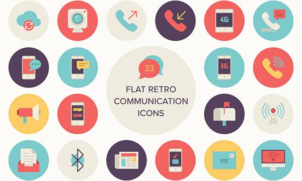 33 Free Flat Retro Communications Icons