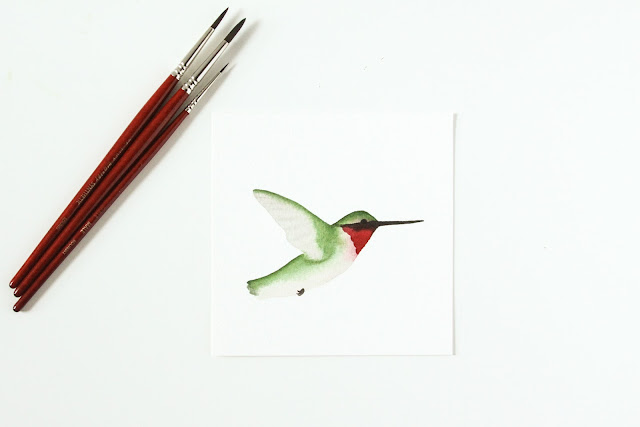 watercolor, watercolor hummingbird, ruby throated hummingbird, daily paintings, 30 days 30 paintings, Anne Butera, My Giant Strawberry