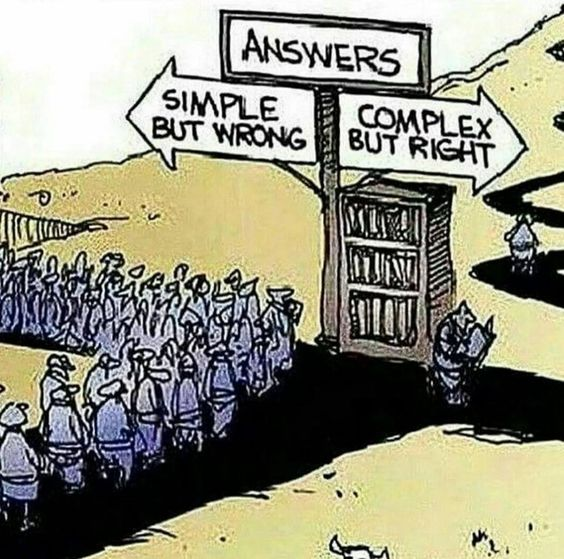 Cartoon Answers: Simple but wrong. Complex but right