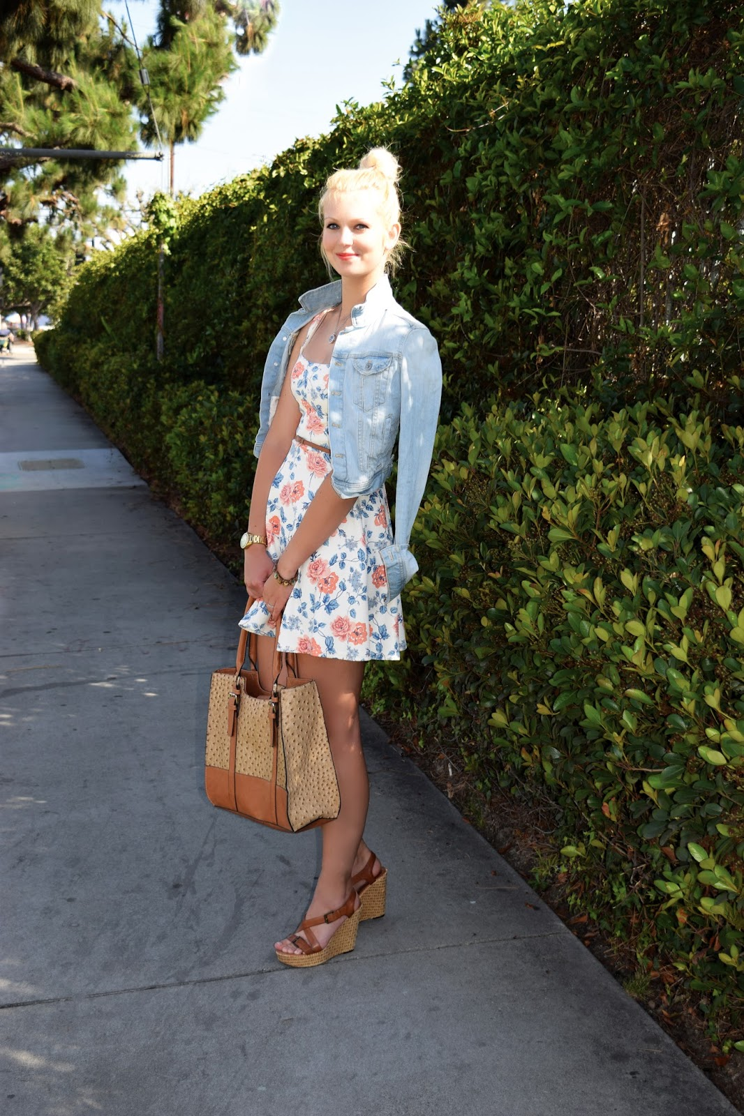 summer dress, floral dress, jeans jacket