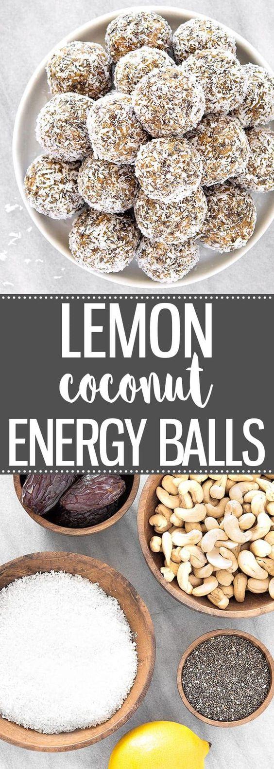 HEALTHY LEMON COCONUT ENERGY BALLS #lemon #coconut #energyballs #healthysnack #healthyfood #healthyrecipes #snackrecipes #easysnackrecipes
