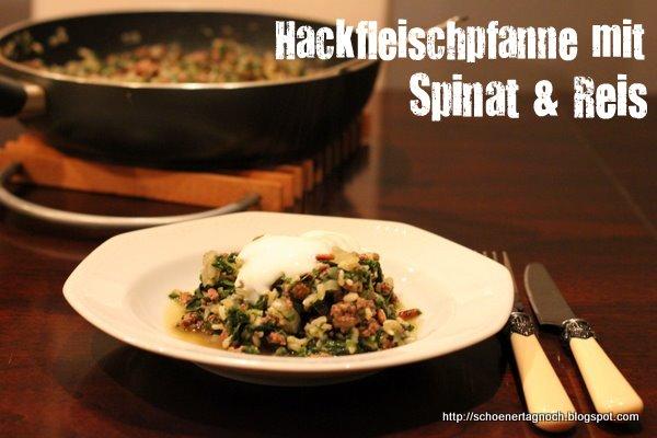 Hackfleischpfanne mit Spinat, Reis und Rosinen
