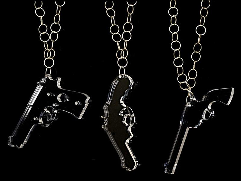 acrylic handgun necklaces