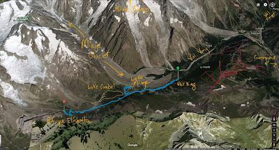 GPS tracks of hike to Rifugio Elisabetta up the Val Veny.