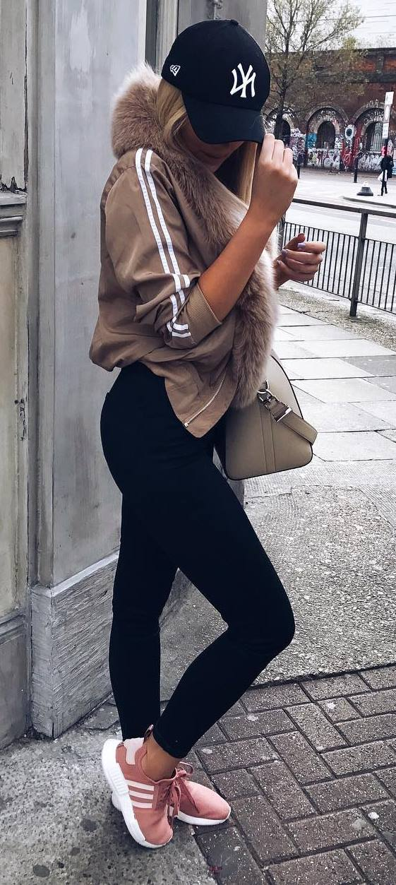 street style perfection: hat + jacket + bag + skinnies + sneakers