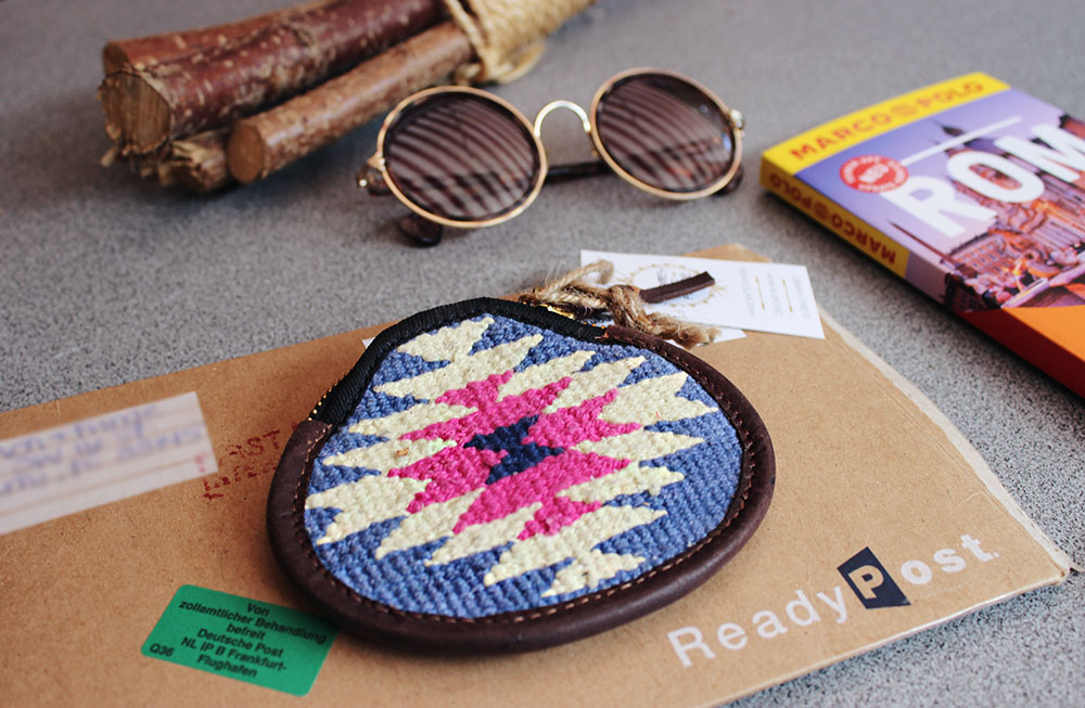 artisan coin purse in a travel blogpost