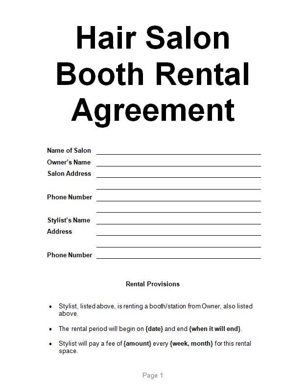 Examples Hair Salon Booth Rental Agreement Sample Contracts