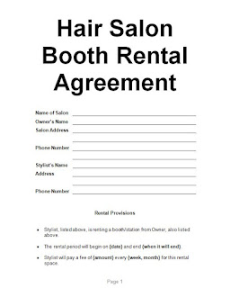 Examples Hair Salon Booth Rental Agreement Sample