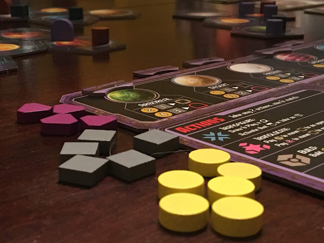 Components from Daily Magic Games' Horizons board game; photo by Benjamin Kocher