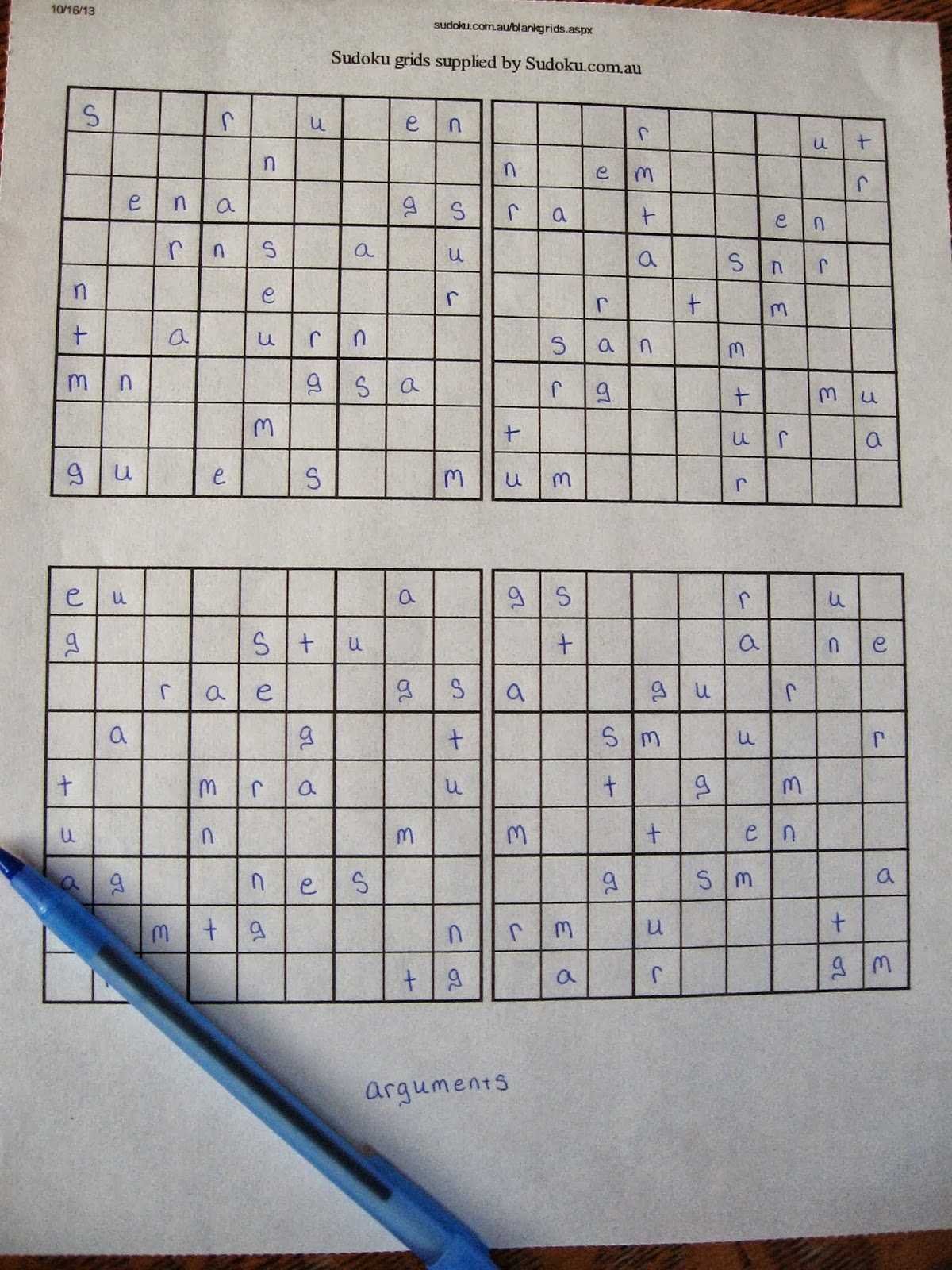 Almost Unschoolers Make Your Own Sudoku Spelling Puzzles