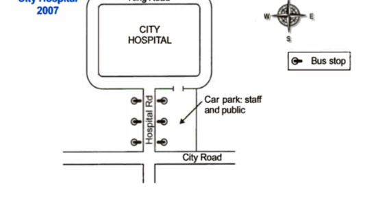The two maps below show road access to a city hospital in