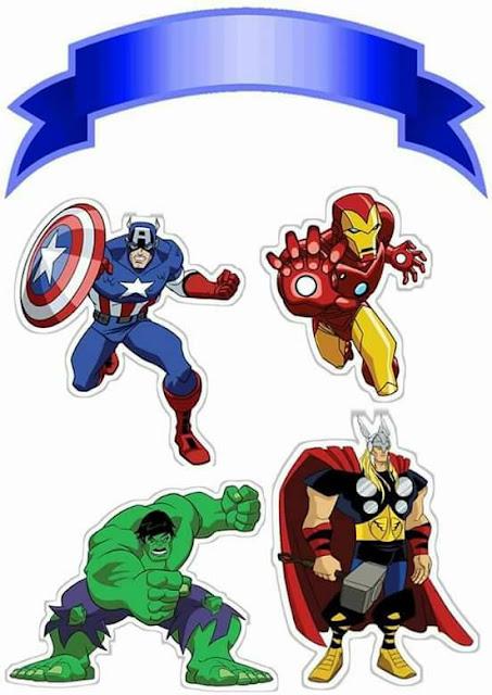 Los Vengadores: Toppers para Tartas, Tortas, Pasteles, Bizcochos o Cakes para Imprimir Gratis.