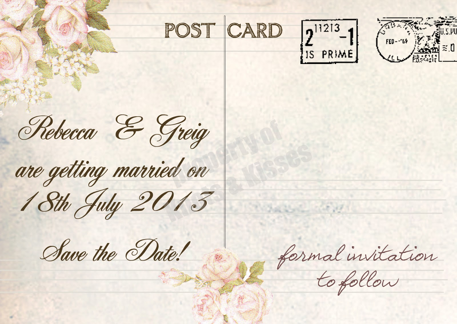 Wedding Save The Date Postcards: Knots And Kisses Wedding Stationery: Vintage Postcard