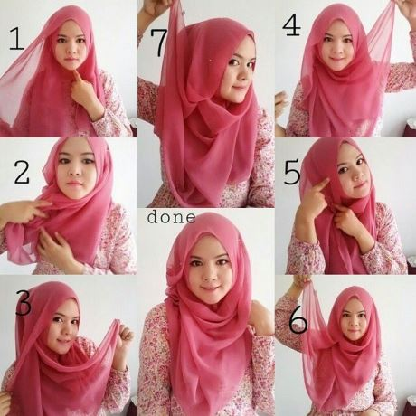 Cara mudah memakai model jilbab segiempat untuk wajah bulat