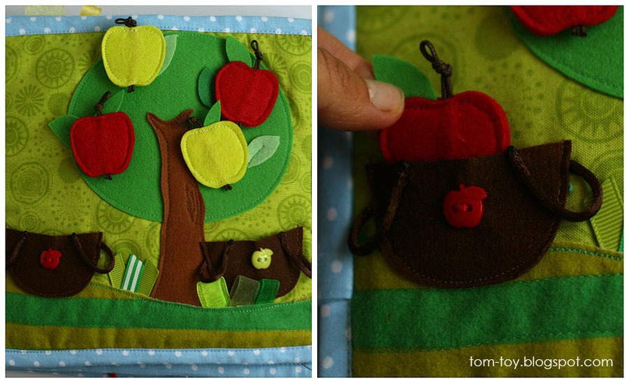 Handmade quiet book for Lucinda, fabric busy book, apple tree, развивающая книжка