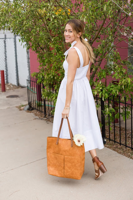 White Summer Dress With Shoulder Ties