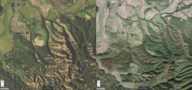 After earthquake (left) and Before (right)