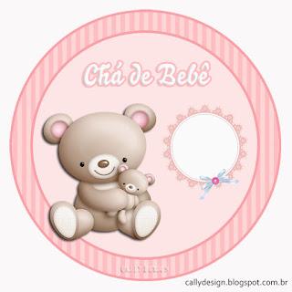 Toppers o Etiquetas para Imprimir Gratis de Osita con Bebé.