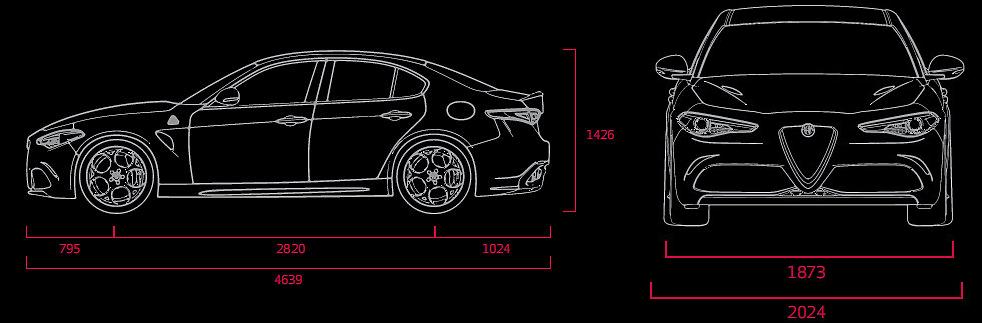 Schema tecnico dimensioni Alfa Giulia