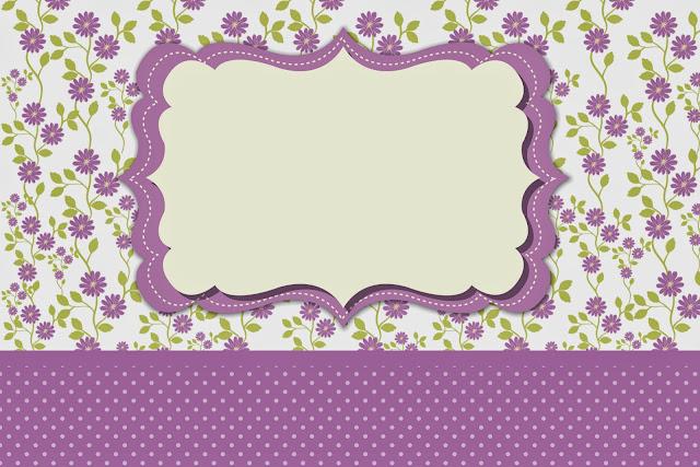 Para hacer Invitaciones, Tarjetas, Marcos de Fotos o Etiquetas, para Imprimir Gratis de Flores Moradas.
