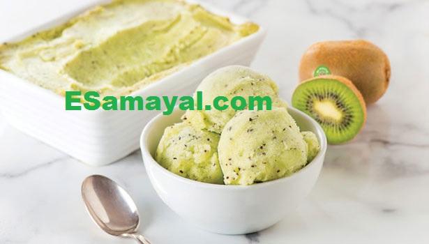 கிவி ஐஸ்கிரீம் செய்முறை   Kiwi Ice Cream Recipe !