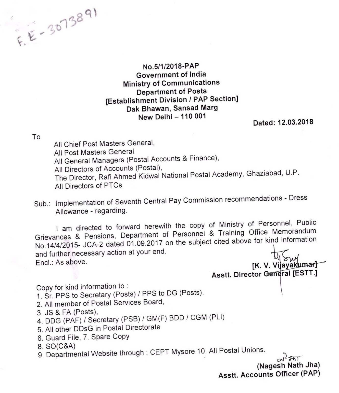 POST ORDER- IMPLEMENTATION OF 7TH CPC RECOMMENDATIONS