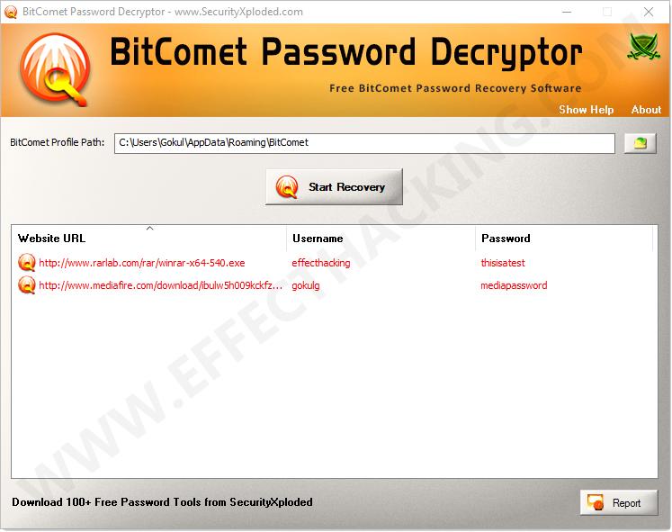BitComet Password Decryptor Decrypted Passwords