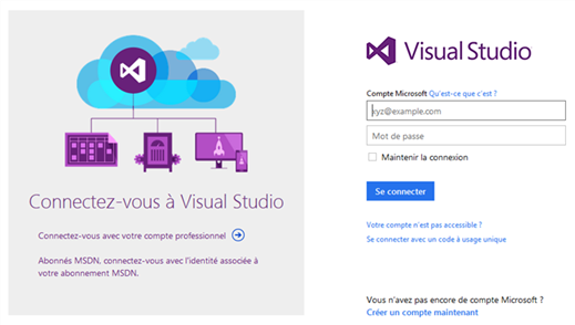 Visual Studio Online - Se  connecter