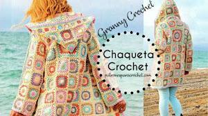 Patrones de Chaqueta con Capucha Tejida a Crochet con Cuadros Granny 😊
