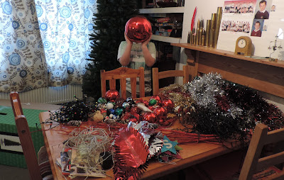 entire christmas decorations on one table