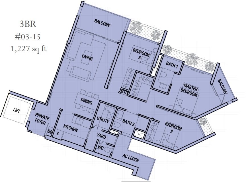 the 3 bedroom of Crest condo Wingtai