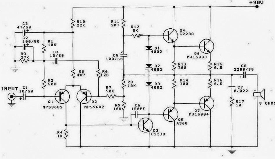otl 100w power amplifier diagram electronic circuit rh elcircuit com class d power amplifier schematic diagram power amp schematic diagram general electric